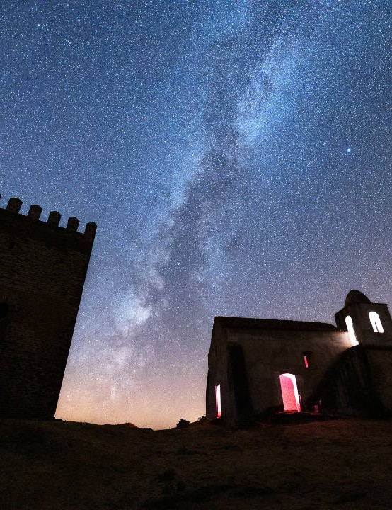 Altair and Vega Sérgio Conceição, Castle of Noudar, Barrancos, Portugal, 3 August 2019 Equipment: Canon EOS R mirrorless camera