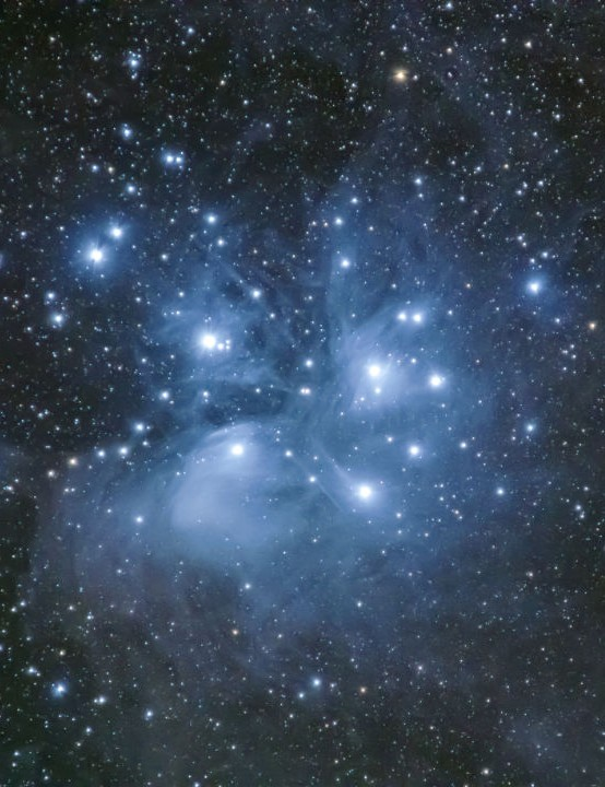 The Pleiades Stephen Tolley, Liskeard, Cornwall, 19 January 2020 Equipment: Nikon D600 DSLR, Tamron 150-600mm lens, Celestron AVX mount