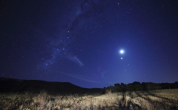 A conjunction of the Moon, Venus, Mars and Spica, Azul, Argentina. Credit: Stocktrek Images/Luis Argerich/Getty