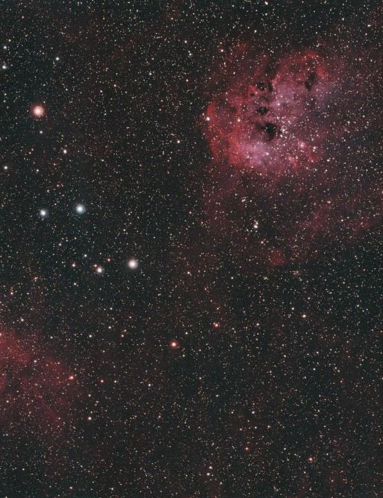 Flaming Star & Tadpole Nebulae David Pickles, Rushden, Northamptonshire, 22, 23 & 25 March 2020 Equipment: ZWO ASI 071MC Pro colour camera, Altair Wave 115ED triplet apo refractor, Sky-Watcher NEQ6 mount