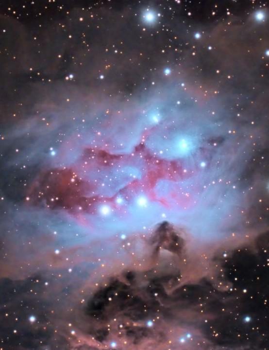NGC 1977 Ron Brecher, Guelph, Ontario, Canada, 21 February–1 March 2020 Equipment: QHY16200A mono CCD camera, Sky-Watcher Esprit 150ED apo refractor, QHY367C CMOS camera, Takahashi FSQ-106 EDX4 quadruplet refractor, Paramount MX mount