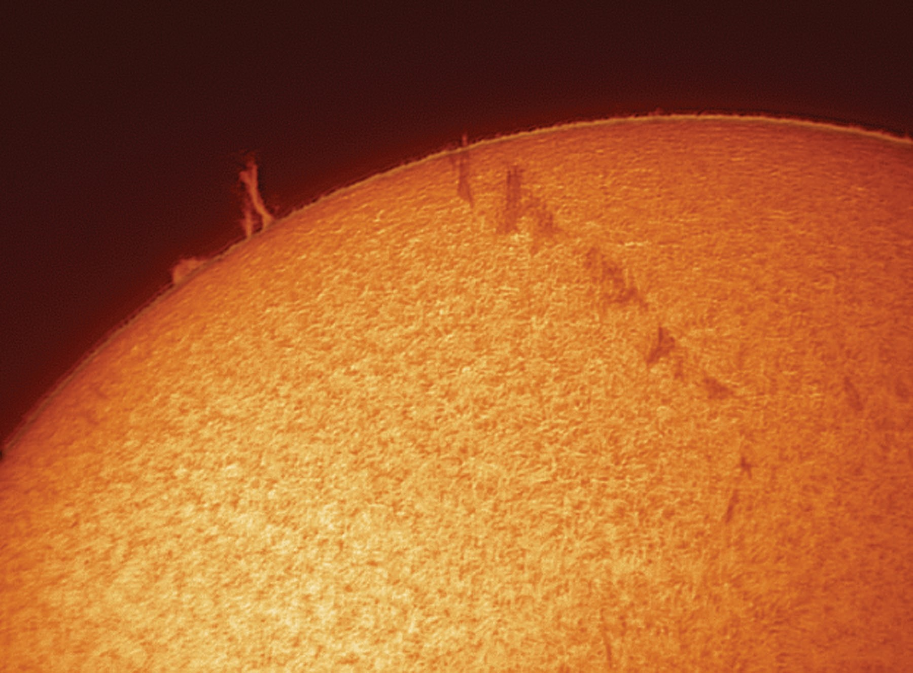 A Coronado PST can deliver stunning shots with prominences leaping off the Sun's limb. Credit: Pete Lawrence