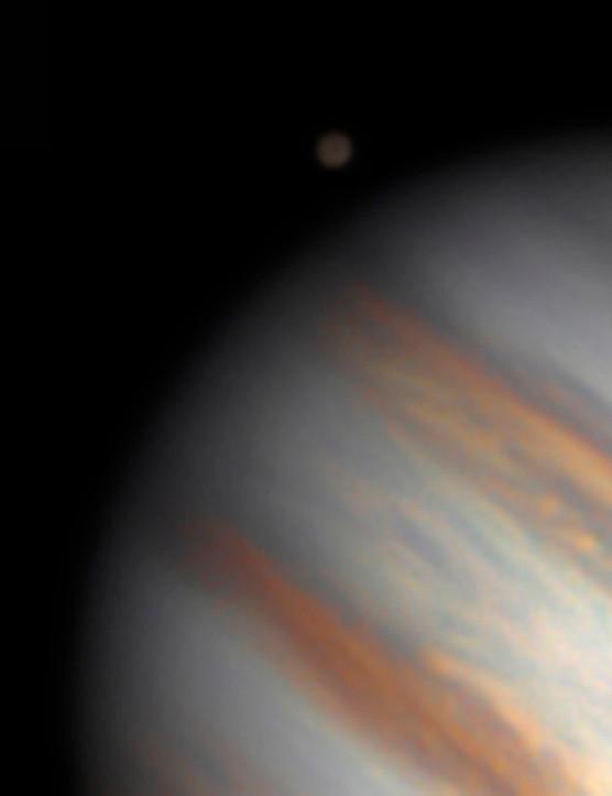 Ganymede Fernando Menezes, São Paulo, Brazil, 26 April 2020. Equipment: ZWO ASI 290MC colour camera, Meade LX200 10