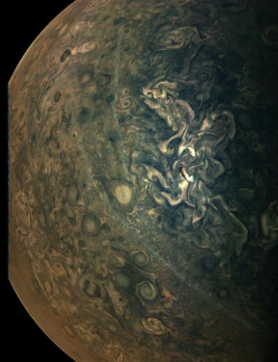 Hazes on Jupiter Juno, 17 February 2020. Credit: NASA/JPL/SwRI/MSSS; image processing by Gerald Eichstädt