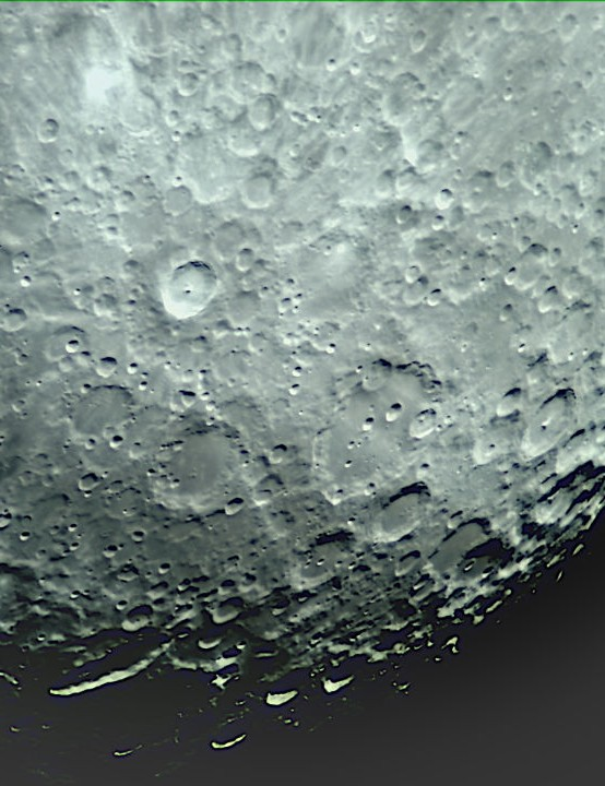 Tycho and Clavius Neil Barnes, Stourbridge, 4 April 2020. Equipment: GT-Vision GXCAM EYE5 camera, Altair Starwave Ascent 102ED f/7 refractor, Sky-Watcher HEQ5 Pro mount