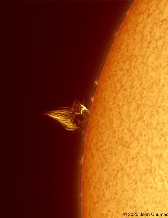 Solar prominence John Chumack, Ohio, USA, 25 May 2020. Equipment: QHY5-III 290MM CMOS camera, Lunt 60mm/50F Ha solar scope