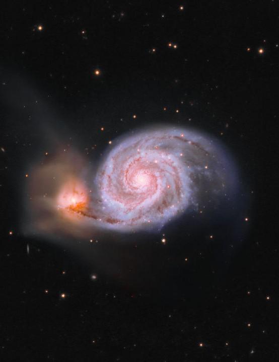 M51 Simon Wilson, Bakewell, Derbyshire, 20–25 April 2020. Equipment: Atik 460EX camera, Skywatcher MN190 Maksutov-Newtonian, Sky-Watcher NEQ6 Pro mount