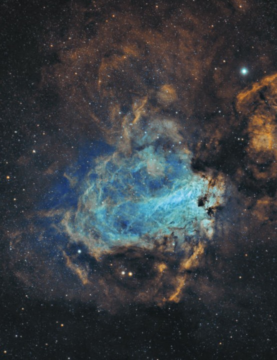 Omega Nebula Anas Albounni, Razeen desert, Abu Dhabi, United Arab Emirates, June 2018 and August 2019. Equipment: Starlight Xpress Trius SX 694 mono CCD camera, Sky-Watcher Esprit 100ED triplet apo refractor, Sky-Watcher AZ-EQ6 mount