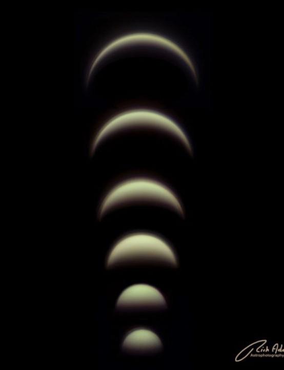 Phases of Venus Rich Addis, Wallasey, Merseyside, February–May 2020. Equipment: ZWO ASI 120MC colour camera, Celestron NexStar 6SE Schmidt-Cassegrain