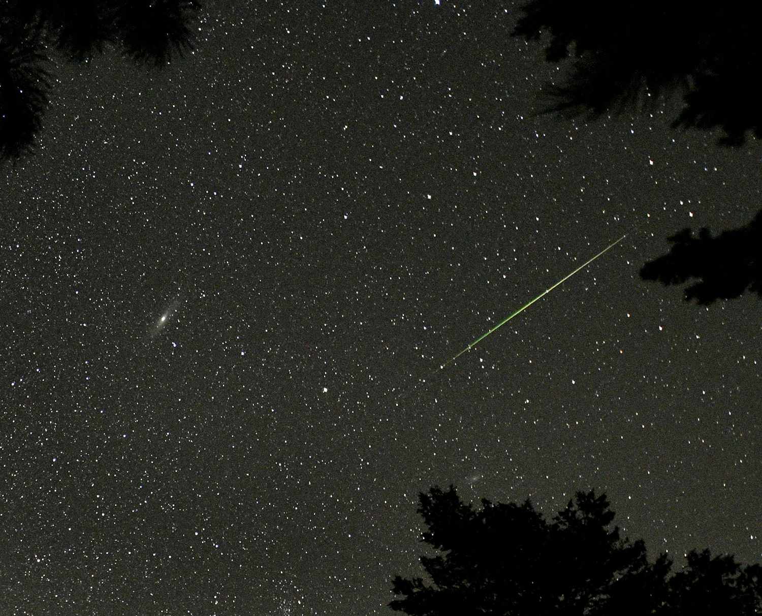 A Perseid meteor seen near the Andromeda Galaxy (the bright smudge on the left of the image, Rocky Mountain National Park, Colorado, US, 12 August 2018. Credit: STAN HONDA/AFP via Getty Images