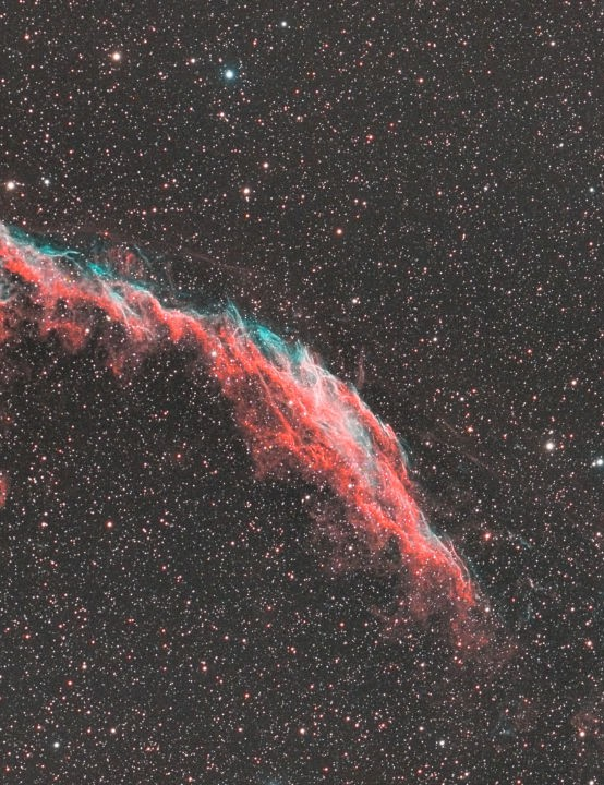 The Eastern Veil Nebula Michael Caller, Selsdon, Surrey, 23 and 24 June 2020. Equipment: Dual rig: ZWO ASI 1600MM Pro with Sky-Watcher Esprit 100 ED/ZWO ASI 183MC-Pro with William Optics RedCat 51, Sky-Watcher EQ6-R Pro mount