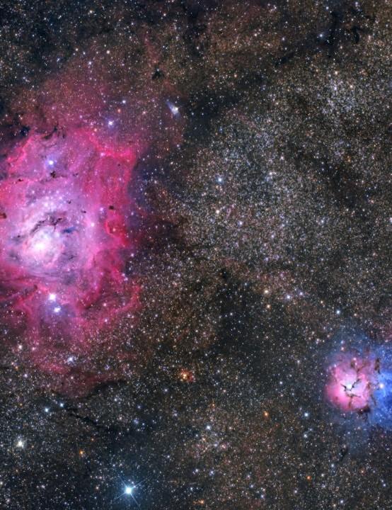 The Lagoon and Trifid Nebulae Davide Mancini, Perth, Australia, 25 June 2020. Equipment: ZWO ASI 2600MC Pro camera, SharpStar 150mm f/2.8 Newtonian, Sky-Watcher HEQ5 mount
