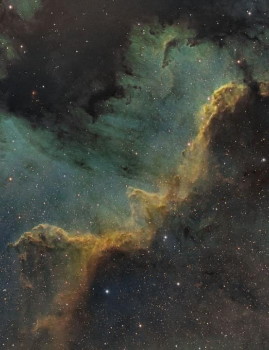 The Cygnus Wall Jason Burns, Kansas, USA, 22–24 June 2020. Equipment: QHY163M camera, Sky-Watcher 100ED Pro apo refractor, pier-mounted Celestron AVX