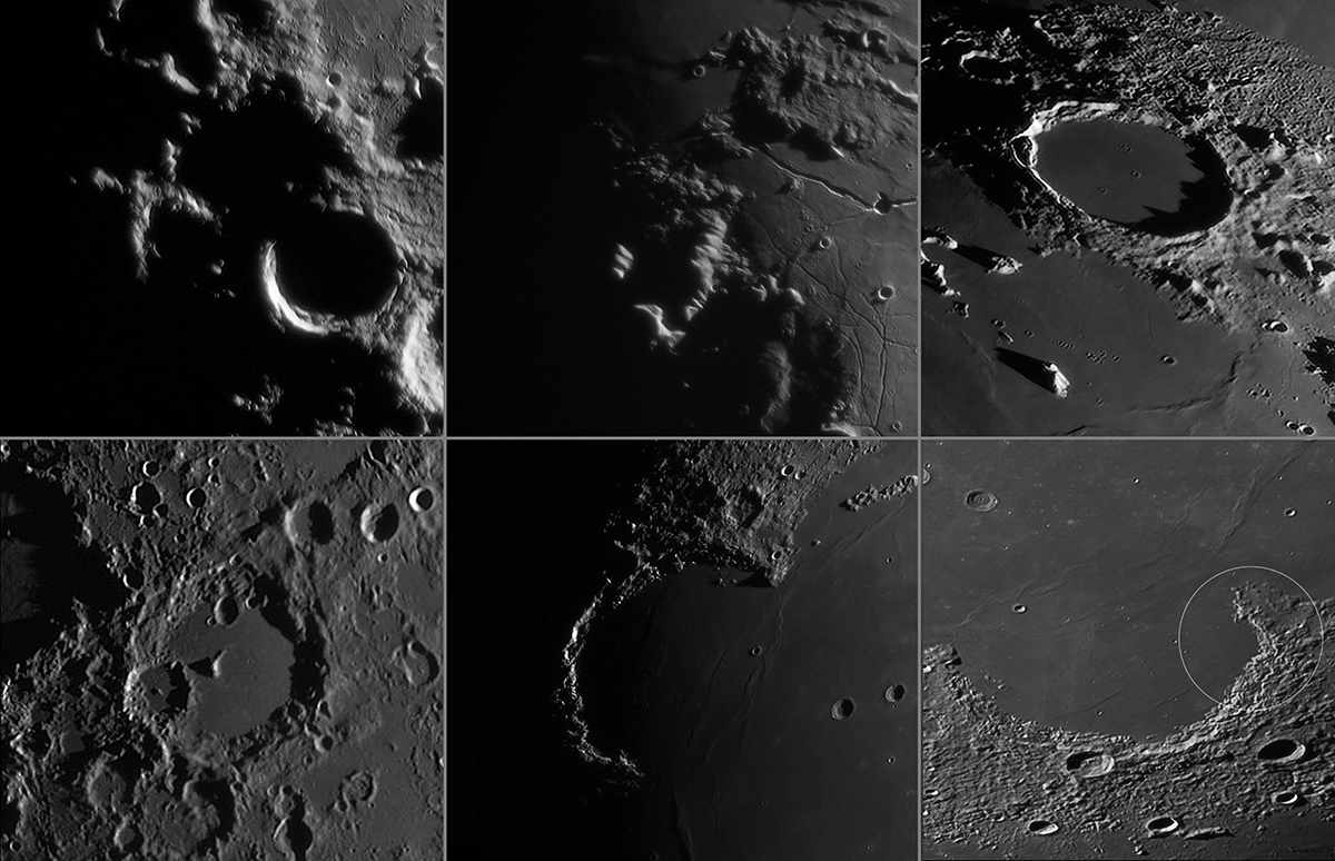 Clair obscur effects on the Moon. Upper row, left to right: Lunar X, Lunar V, Plato's Hook. Lower row, left to right: Face in Albategnius, the Jewelled Handle, Cassini's Moon Maiden (south-up view). Credit: Pete Lawrence