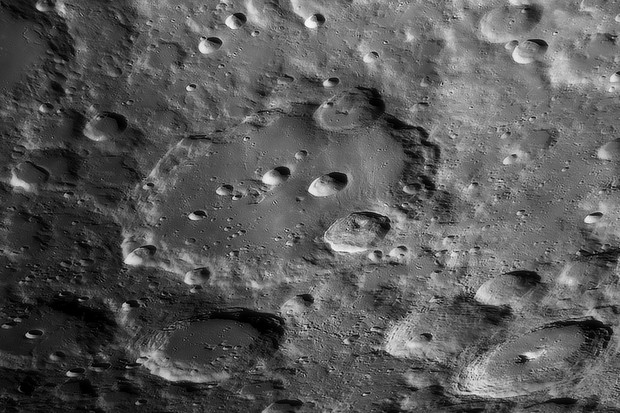 Clavius is a wonderfully rugged moon crater, ripe for observing with a telescope. Credit: Pete Lawrence