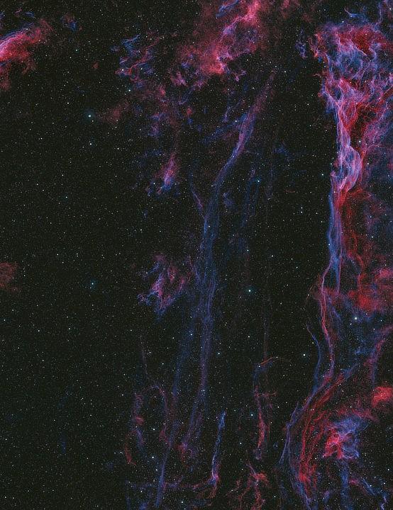 The Veil Nebulae Terry Hancock, Grand Mesa Observatory, Colorado, July and August 2020. Equipment: QHY600 mono camera, Takahashi FSQ-130 apo refractor, Paramount ME mount