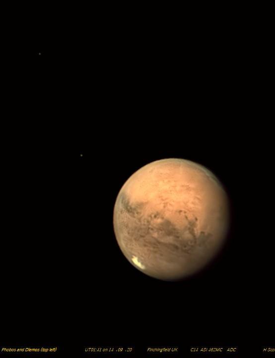 Mars, Phobos and Deimos Harvey Scoot, Finchingfield, Essex, 14 September 2020 Equipment: ZWO ASI 462MC one-shot colour camera, Celestron EdgeHD 14-inch Schmidt-Cassegrain, Mesu-Mount 200