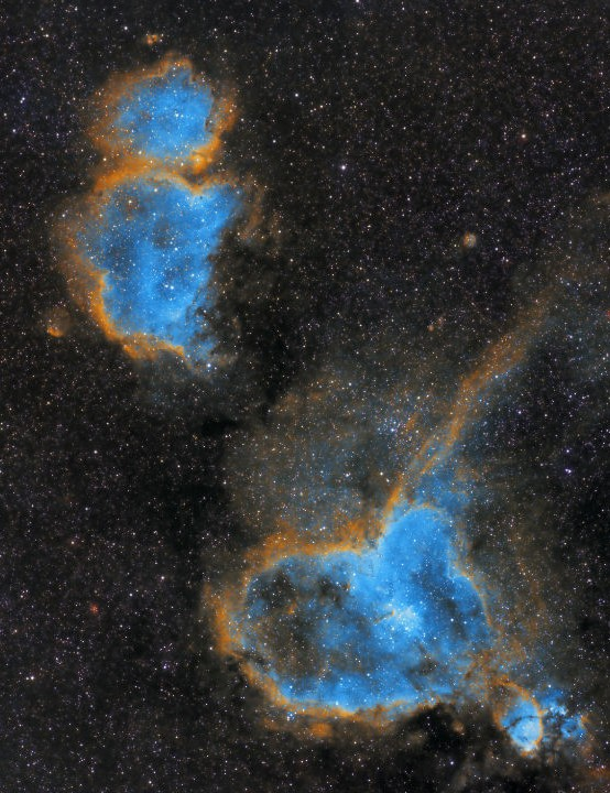 The Heart and Soul Nebulae Prabhakaran (Prabhu), Buraq and Mleiha, UAE, 14, 15 and 21 September 2020 Equipment: ZWO ASI 1600MM Pro camera, Samyang 135mm f/2.8 lens, Sky-Watcher AZ-EQ6 mount