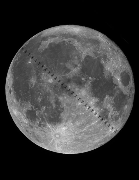 ISS zips across the Moon Andrei Dumitriu, Bucharest, Romania, 1 November 2020. Equipment: ZWO ASI 178MC colour camera, Orion ED80 apo refractor, Sky-Watcher Star Discovery mount