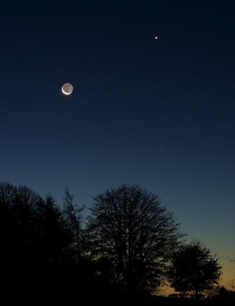 Moon, Venus and Spica James Coard, Lisburn, County Antrim, 13 November 2020. Equipment: Sony A7III mirrorless camera, Tamron 28–75mm lens, tripod
