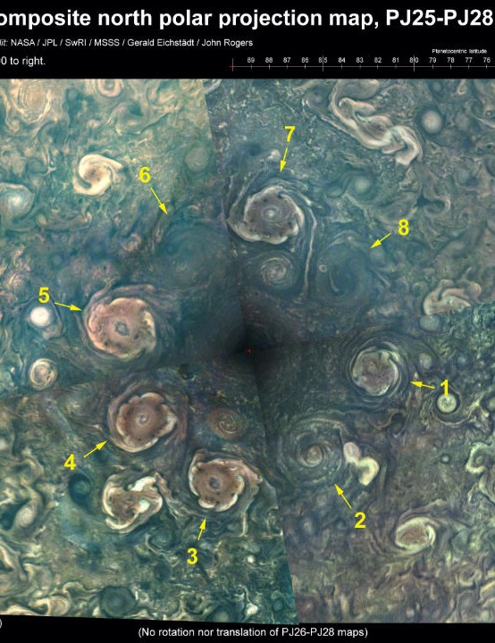 EIGHT CIRCUMPOLAR CYCLONES ON JUPITER'S NORTH POLE JUNO, 14 DECEMBER 2020 CREDIT: Image data: NASA/JPL-Caltech/SwRI/MSSS. Image processing: Gerald Eichstädt, John Rogers © CC BY
