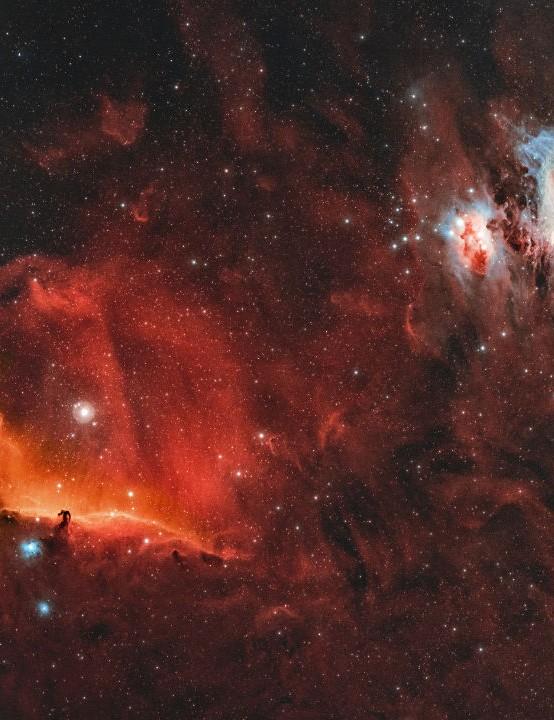 Orion, Horsehead and Flame Nebulae Kasra Karimi, Hertfordshire, 18 November 2020. Equipment: ZWO ASI 6200MC Pro camera, TS Optics 76/342 EDPH apo refractor, Sky-Watcher EQ6-R Pro mount