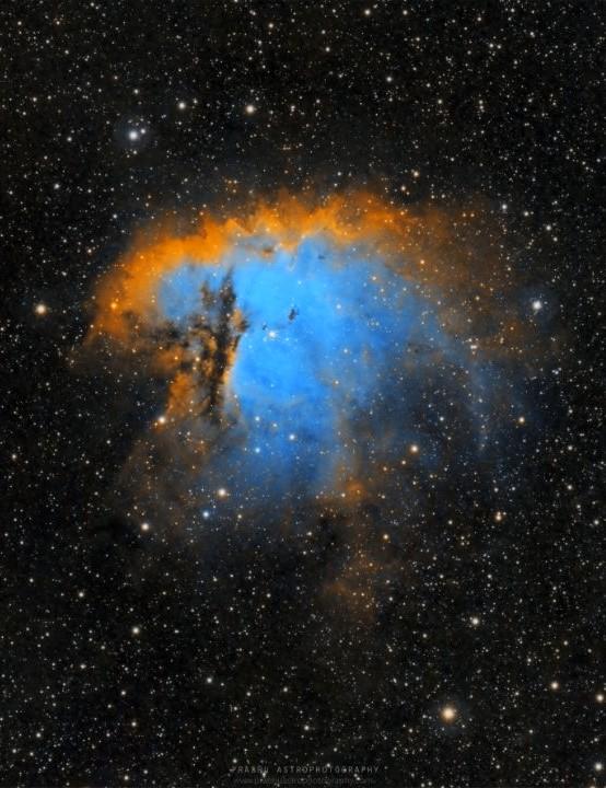 The Pacman Nebula NGC 281 Prabhu, Mleiha, UAE, 18 October and 14 November 2020. Equipment: ZWO ASI 1600MM Pro camera, Sky-Watcher Esprit 80ED apo triplet refractor, Sky-Watcher EQ6 mount