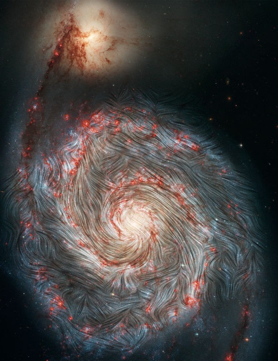 Chaotic magnetic fields in the Whirlpool Galaxy, M51. HUBBLE SPACE TELESCOPE/SOFIA, 14 JANUARY 2021 IMAGE CREDIT: NASA, the SOFIA science team, A. Borlaff; NASA, ESA, S. Beckwith (STScI) and the Hubble Heritage Team (STScI/AURA)