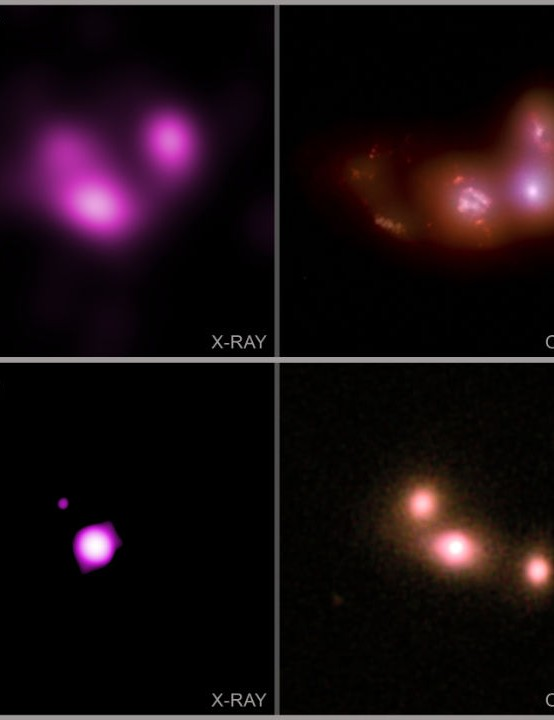 Black holes as three galaxies collide CHANDRA X-RAY OBSERVATORY/HUBBLE SPACE TELESCOPE, 14 JANUARY 2021 Image credit: X-ray: NASA/CXC/Univ. of Michigan/A. Foord et al.; Optical: SDSS & NASA/STScI