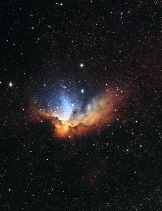 The Wizard Nebula, NGC 7380 Rachael & Jonathan Wood, Doncaster, 30 July & 19 August 2020 Equipment: ZWO ASI 294MC Pro camera, Sky-Watcher Evostar ED80 refractor, Sky-Watcher HEQ5 Pro mount