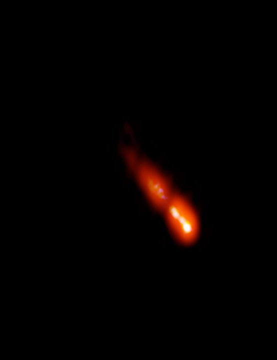Blazar galaxy PSO J0309+27 in Aries VERY LONG BASELINE ARRAY, 22 DECEMBER 2020 CREDIT: Spingola et al.; Bill Saxton, NRAO/AUI/NSF.