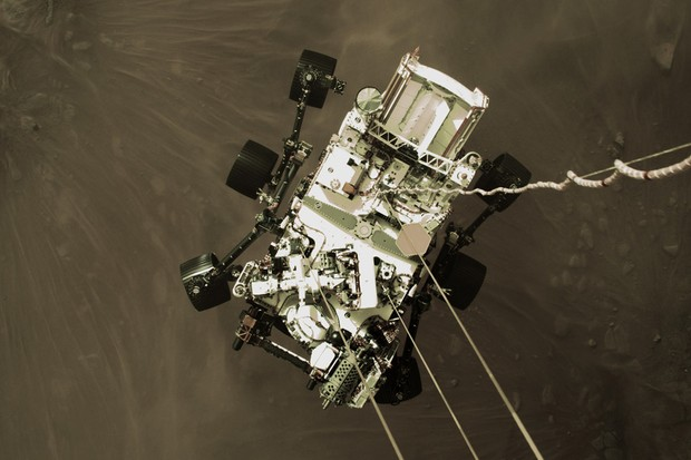 Still from a video showing the landing of Perseverance rover on the surface of Mars. Credit: NASA/JPL-Caltech