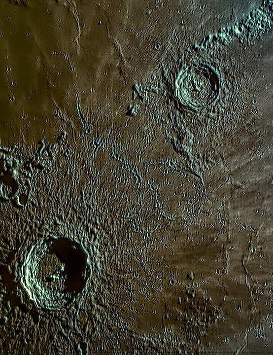 Copernicus and Eratosthenes Michael K Jamieson, Snitterby, Lincolnshire, 31 May 2020.Equipment: ZWO ASI 224MC colour camera, Meade LX90 SCT.