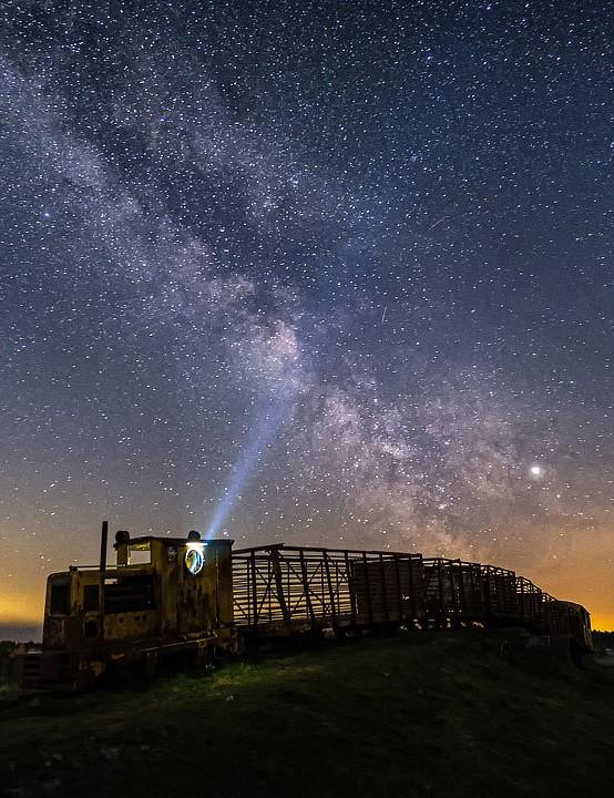 Milky Way over the Sky Train. Todor Tilev, County Offaly, Ireland, 12 May 2019. Equipment: Fujifilm X-T10 camera, Samyang 12mm lens.