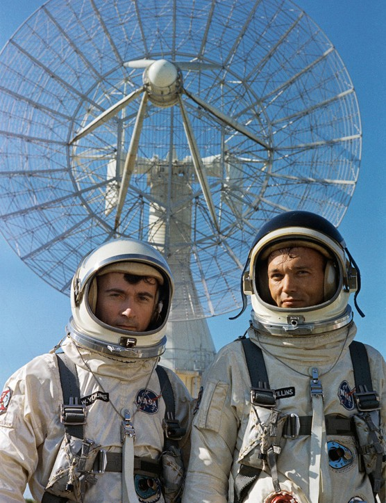 John W. Young (left) and Michael Collins during a press photo session for the Gemini 10 mission, 16 July 1966. Credit: NASA