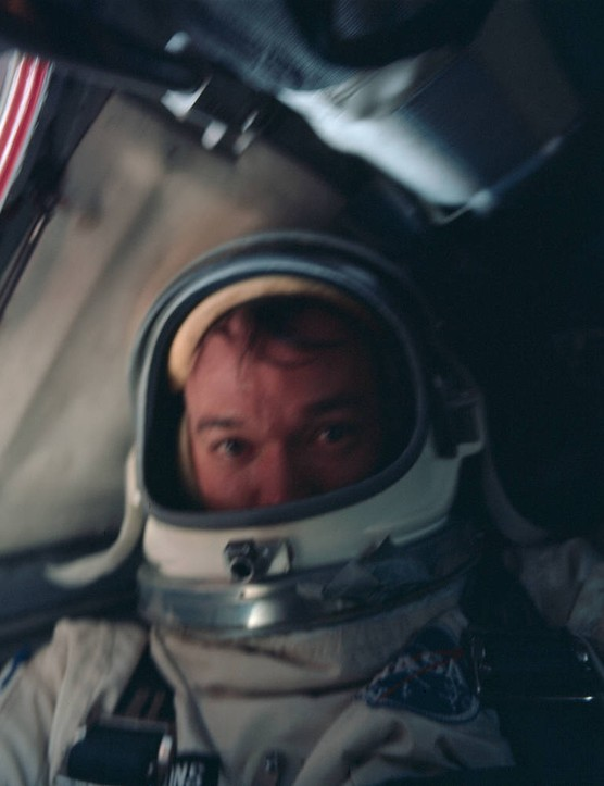 Michael Collins pictured onboard the spacecraft during the Gemini 10 mission. Credit: NASA