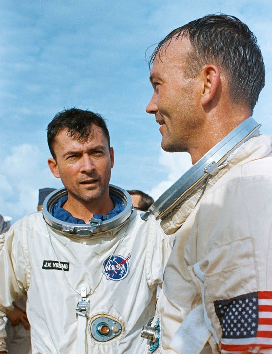Gemini 10 crew John Young and Michael Collins pictured aboard the ship USS Guadalcanal on 21 July 1966, following successful splashdown of the Gemini 10 mission. Credit: NASA