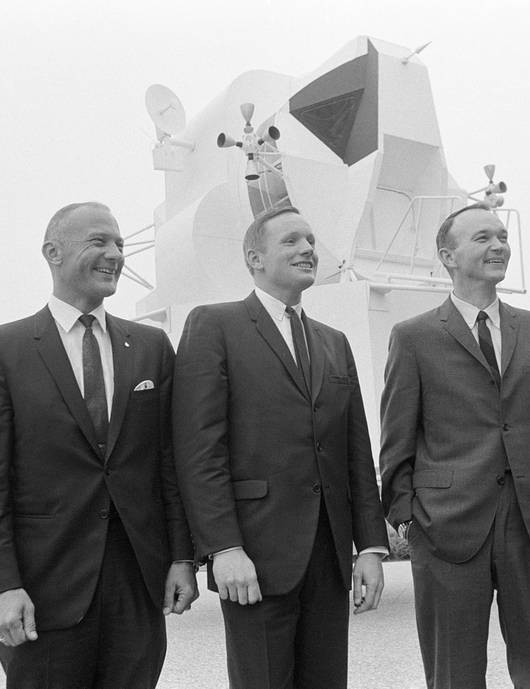 Buzz Aldrin, Neil Armstrong and Michael Collins pictured at what is now Johnson Space Center, 10 January 1969, the day after they were selected as Apollo 11 crew. Credit: NASA