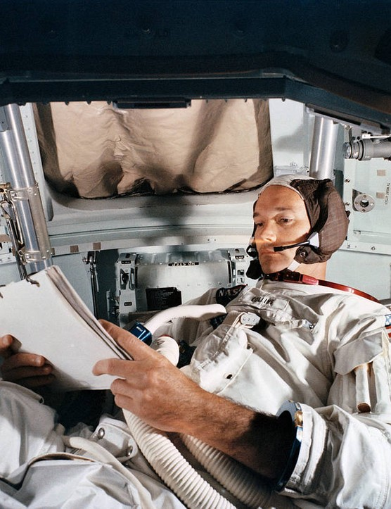 Michael Collins during Apollo 11 training in the Command Module simulator, 19 June 1969, Kennedy Space Center. Credit: NASA
