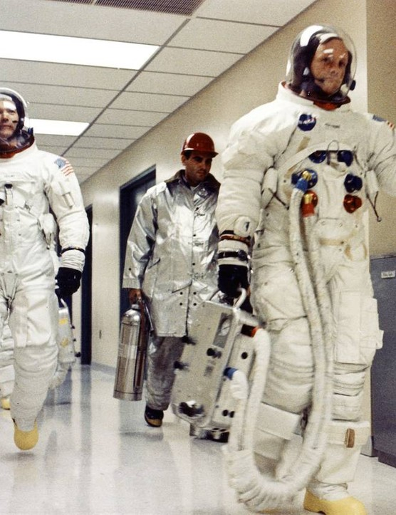 The Apollo 11 crew on their way to Launch Complex 39A, 16 July 1969, preparing to become the first humans to set foot on the Moon. Credit: NASA