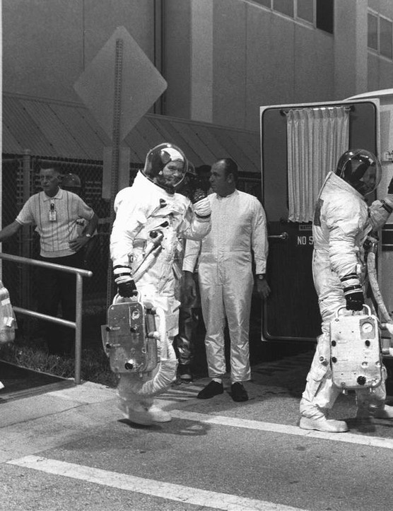 The Apollo 11 crew preparing for a countdown demonstration test. Credit: NASA