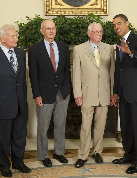 Buzz Aldrin, Michael Collins and Neil Armstrong meet with US President Barack Obama in the Oval Office on the 40th anniversary of the Apollo 11 landing, 20 July, 2009. Credit: NASA/Bill Ingalls