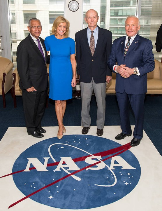 Buzz Aldrin and Michael Collins pictured with NASA Administrator Charles Bolden and Carol Armstrong, widow of Neil Armstrong, at NASA HQ on 22 July 2014, during the 45th anniversary week of the Apollo 11 landing. Credit: NASA/Joel Kowsky