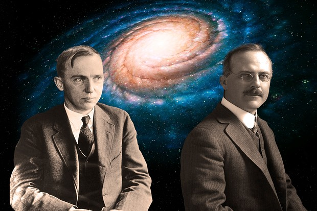 Harlow Shapely and Heber Curtis. Credit: Mark Garlick / Science Photo Library / iStock / Getty Images / Bettmann Allegheny Observatory Records, University of Pittsburgh