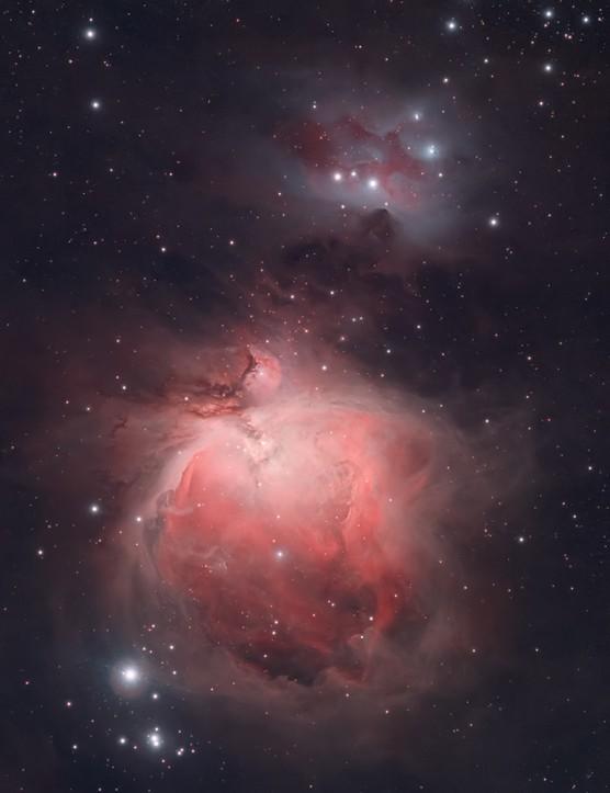 The Orion and Running Man Nebulae Ed Holt, Bassingbourn, Cambridgeshire, 30 January 2021. Equipment: Canon 60D DSLR, Sky-Watcher Evostar 80ED apo refractor, Celestron CG-5 GT mount