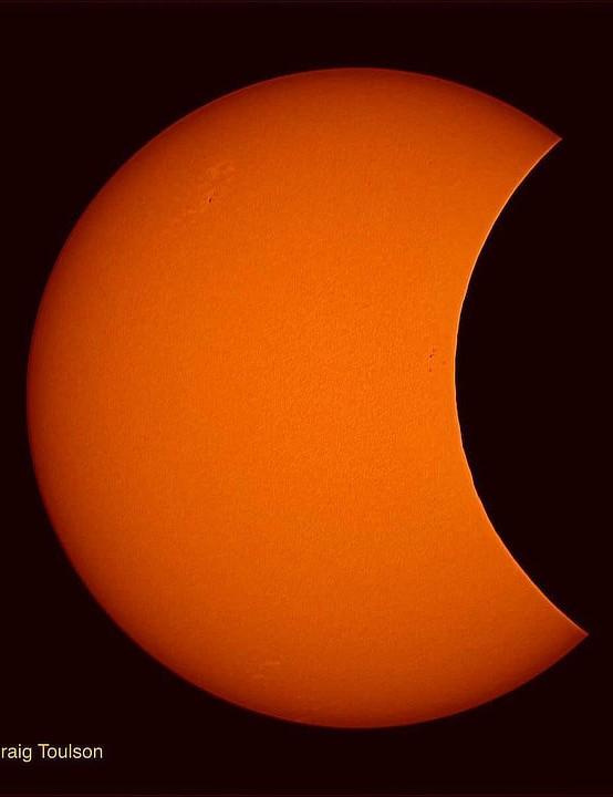 Orange eclipse over Sheffield Craig Toulson, Sheffield Equipment: Altair 183c camera, Sky-Watcher 80ED refractor