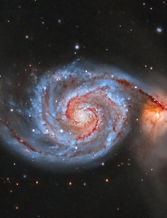 "The Whirlpool Galaxy, Kasra Karimi, Aylesbury, 18–19 April 2021. Equipment: ZWO ASI 6200MC camera, TS-Optics 130mm apo triplet, Sky-Watcher EQ6-R Pro mount. Exposure: 75x 300"""
