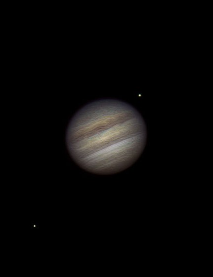 Jupiter and Galilean moons, Paul Sparham, Leatherhead, Surrey, 6 May 2018. Equipment: iPhone 5s, Orion XT6 Dobsonian
