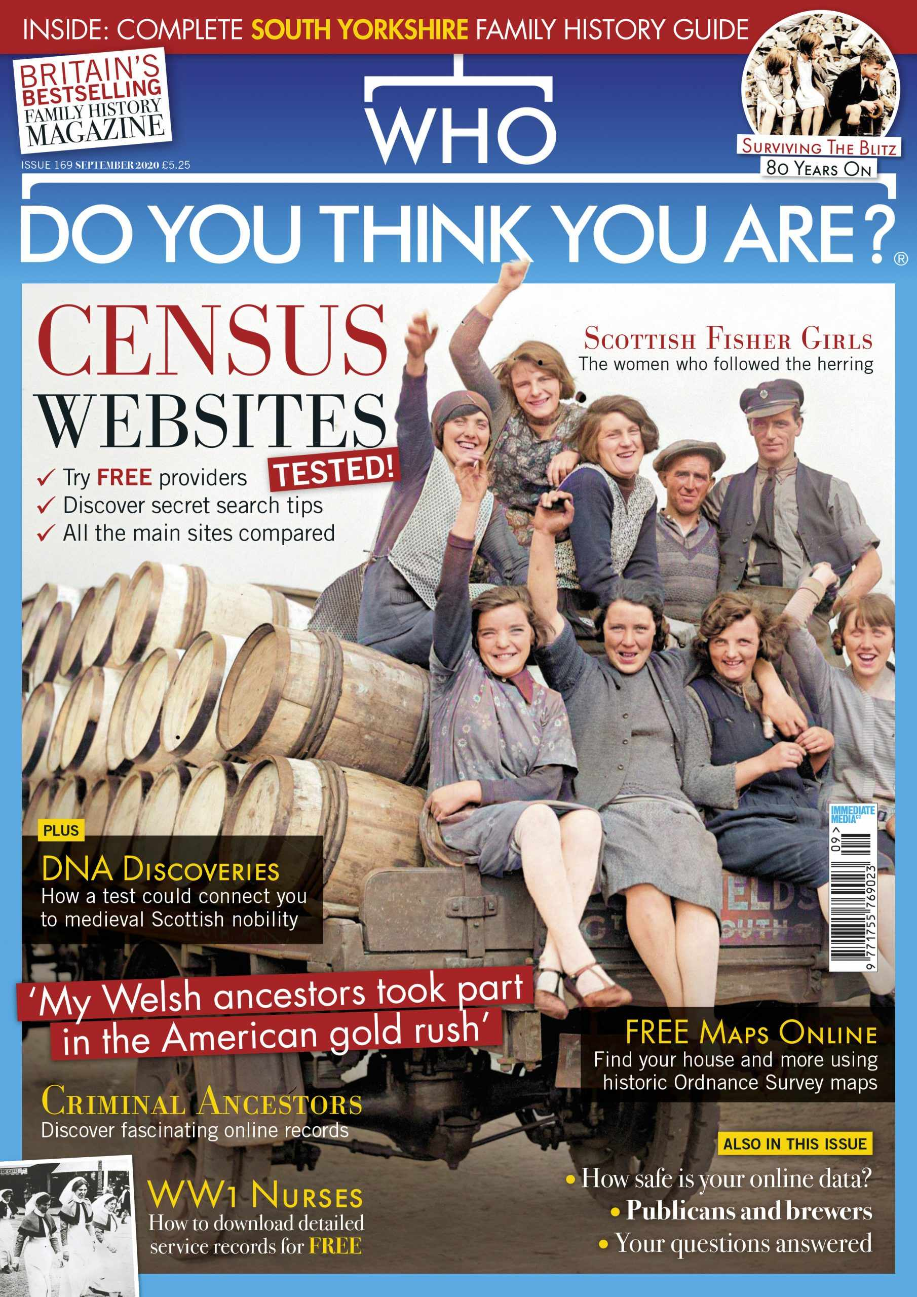 Who Do You Think You Are? Magazine September 2020 cover showing Scottish fisher girls