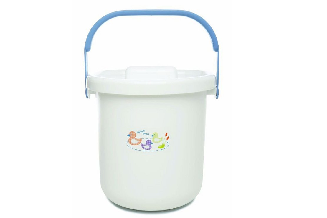 The Neat Nursery Co Nappy Soak Bucket Pail with Lid Reusable Washable Pink Lime
